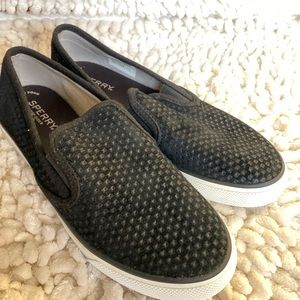 Size 8.5 Sperry black leather/suede slide in